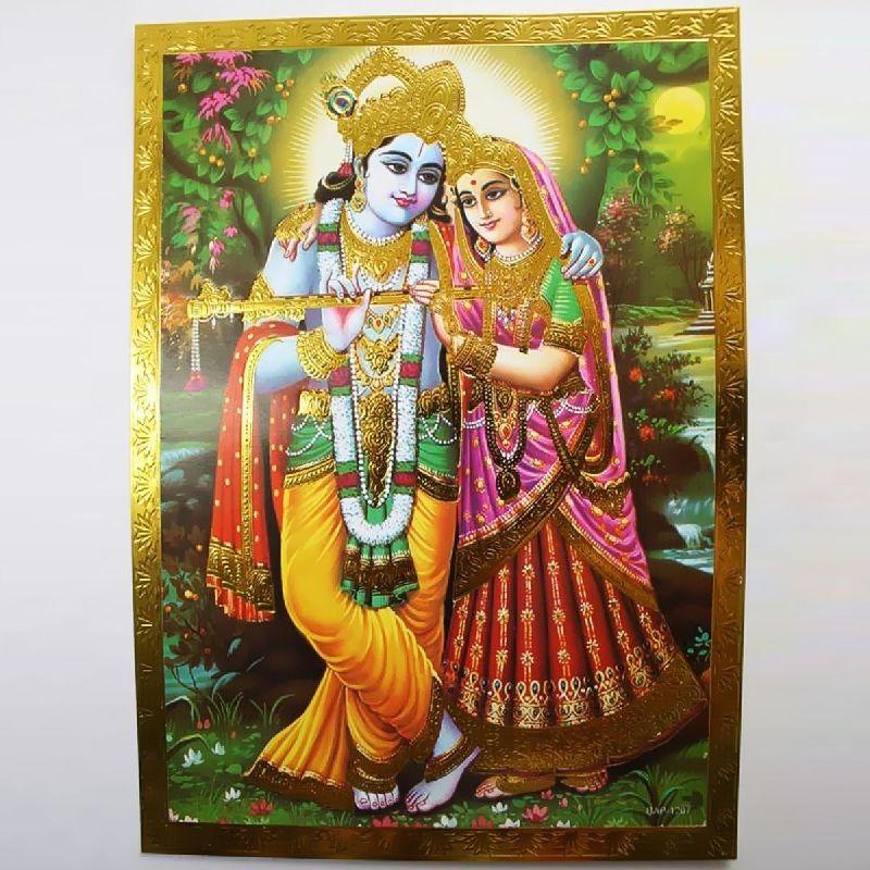 Krishna Altarbild Radha Prägedruck Indien Hinduismus  Bild Guru Om Puja 14