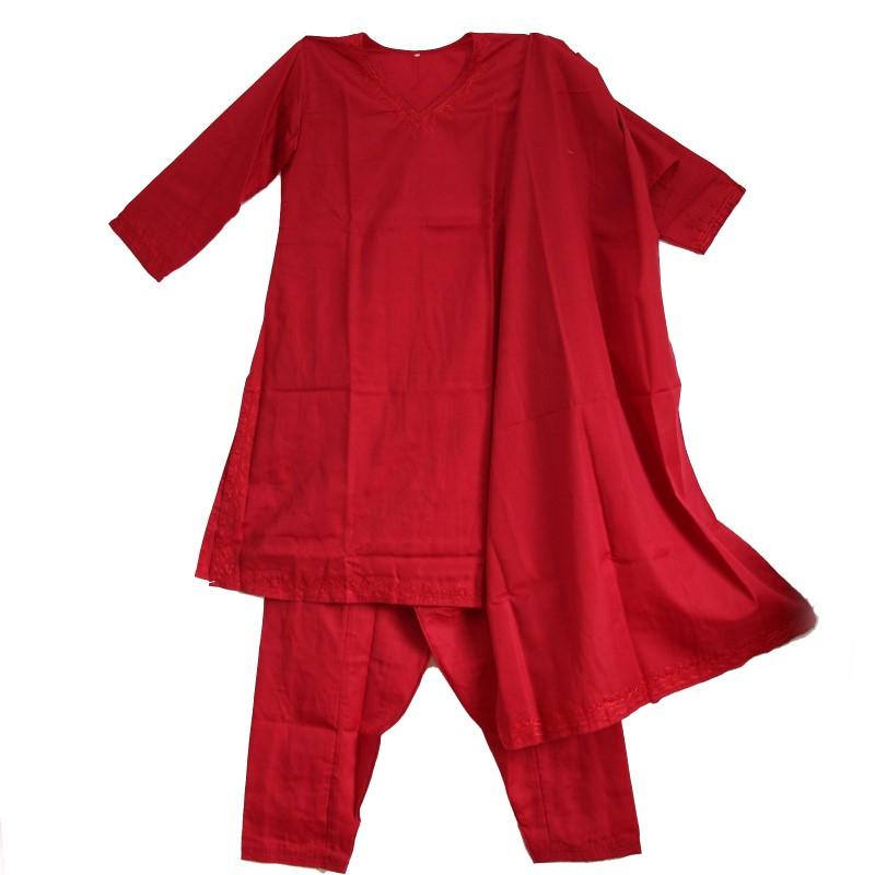 Salwar Kameez Kleid Hose Schal 38 Gr. M Indien Bollywood Kostüm Rot ...