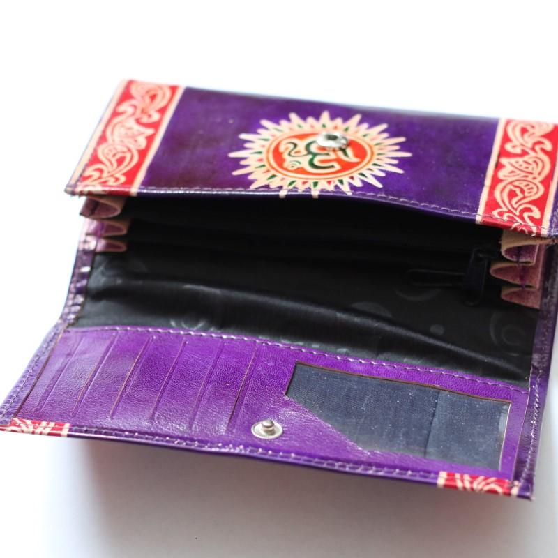 Leder Geldbörse Brieftasche Börse Portmonee Motiv OM Lila-Orange ts
