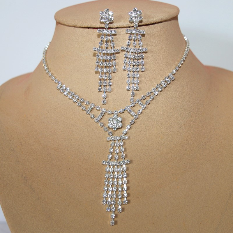 Partyschmuck modisch Straß Blume Kollier Halskette Partymode Hochzeitschmuck