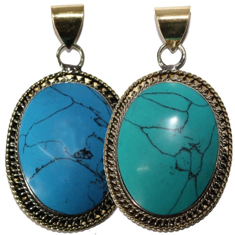 c984967e2171 Colgante Turquesa ovalo con piedra de Collar India Nepal Oro Plata ...