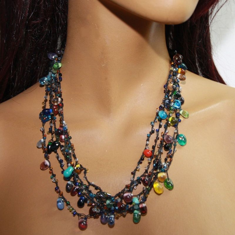 glasperlenkette bunte kette halskette glasperlen collier. Black Bedroom Furniture Sets. Home Design Ideas