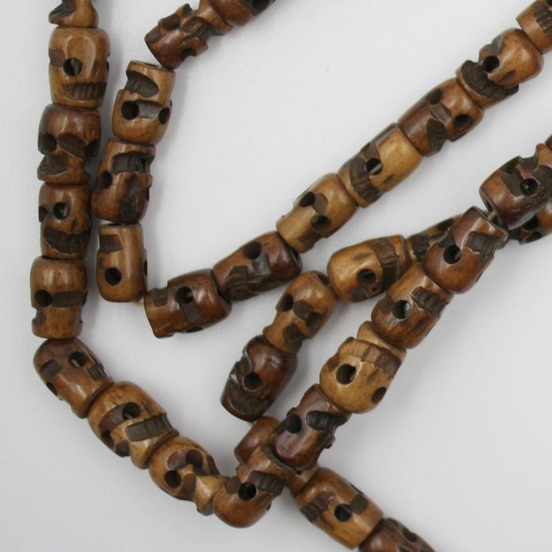 Kali Mala 120 cm Umfang Gebetskette Totenkopf Hinduismus OM Yakbone weiß Indien