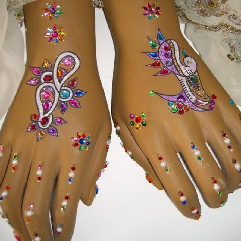 hand sticker henna doppel handschmuck bollywood selbstklebend tattoo bunt ebay. Black Bedroom Furniture Sets. Home Design Ideas