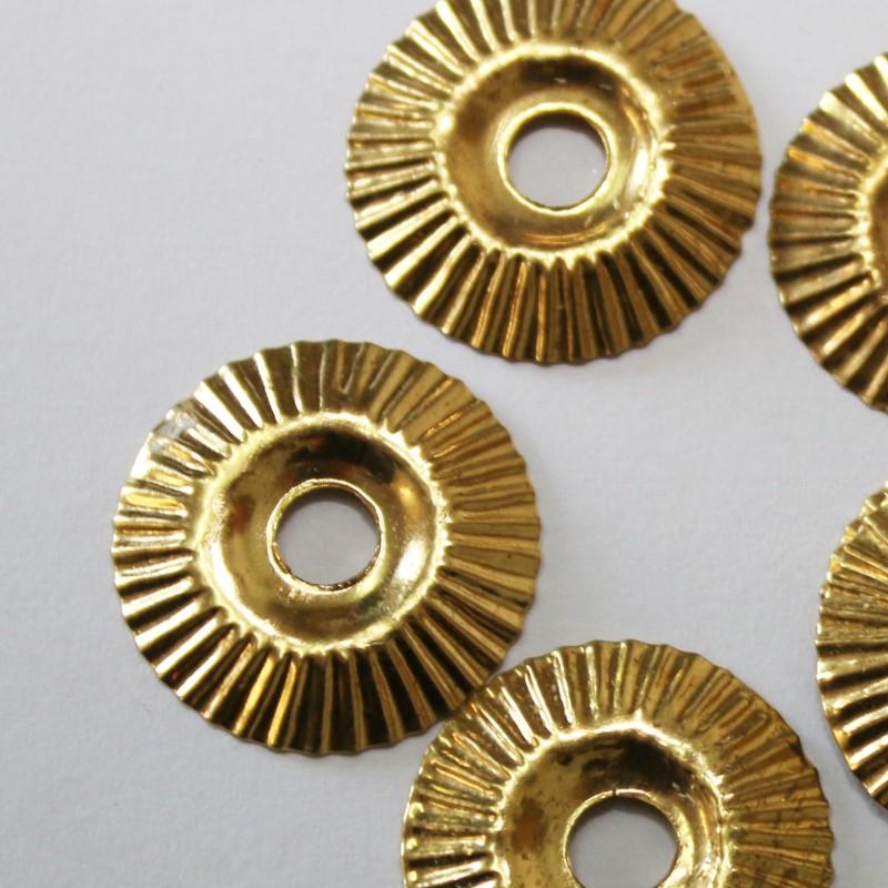 Rosetten 5 x Rund ohne Spitzen  Messing für Möbelknopf Möbelknäufe Zubehör Gold
