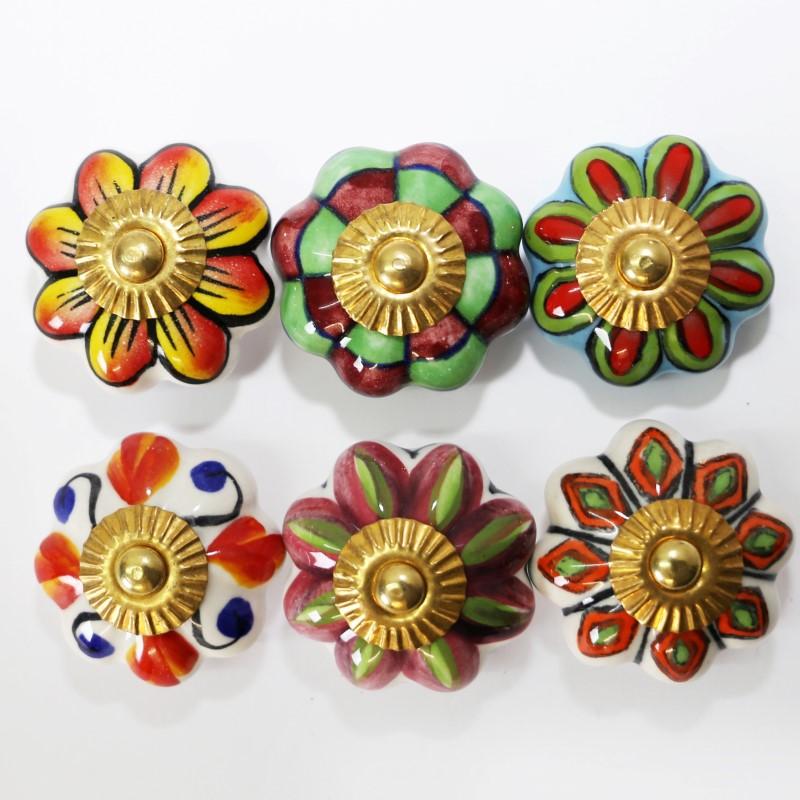 M belkn pfe set 6 stk m belgriffe keramik kn pfe griffe m belknopf bunt a6 ebay - Mobelgriffe kinder ...