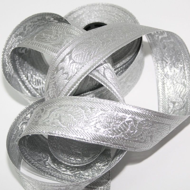 Borte 1M Orient Bordüre lfm 40mm Band Webband  Sariborte Nähen Weiß 4,0