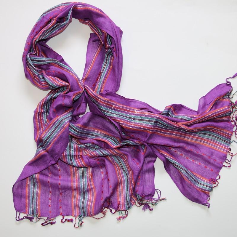 Schal Fransenschal Damenschal Baumwolle 180 x 55 cm Tuch Lila f10