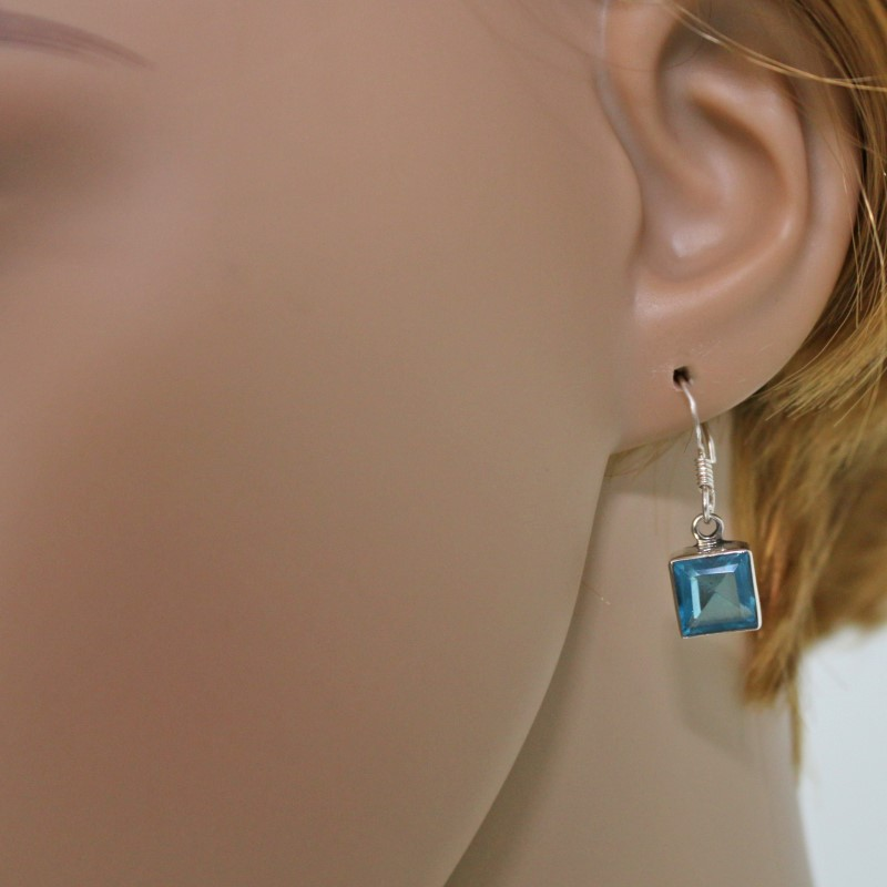 Blautopas Ohrringe Silber 925 Ohrhänger Blau Topas Quadrat facettiert eckig ts