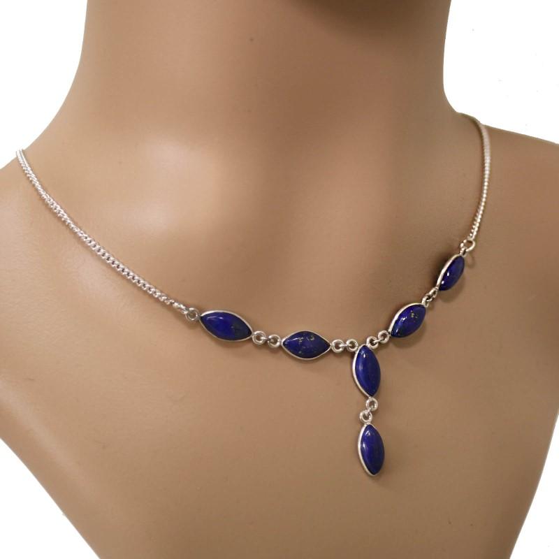 Lapis Lazuli Collier Kette Silber 925 Sterlingsilber Lapislazuli Halskette ts