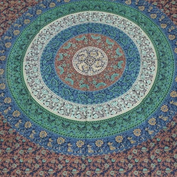Couvre lit couverture mandala fleurs tapisserie d coration for Decoration murale mandala
